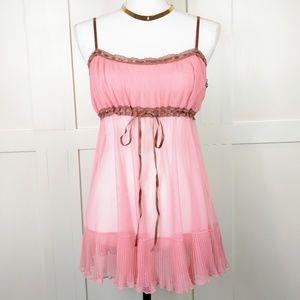Victoria's Secret Pink Mesh Pleated Babydoll Slip